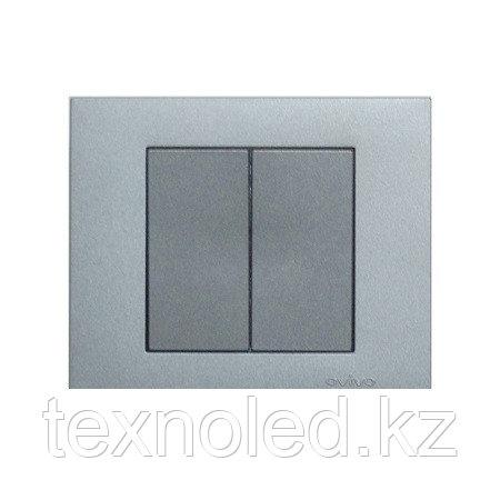 Выключатель 2-клавишный Ovivo Grano серебро