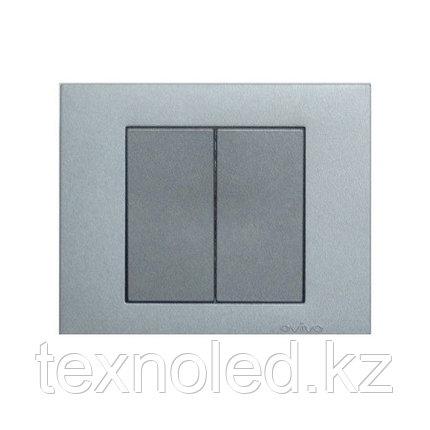 Выключатель 2-клавишный Ovivo Grano серебро, фото 2