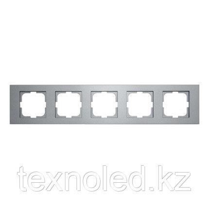 Рамка 5-местная Ovivo Grano серебро, фото 2