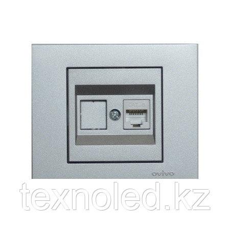 Розетка компьютерная Ovivo Grano серебро