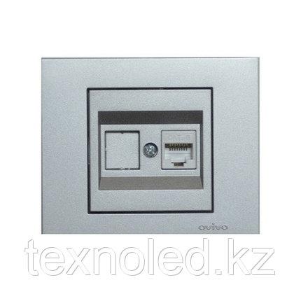 Розетка компьютерная Ovivo Grano серебро, фото 2