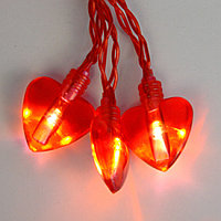 Гирлянда 1,9м красная Сердечки кабель красный 0,5м батарейки АА 20диодов LED indoor 725-74