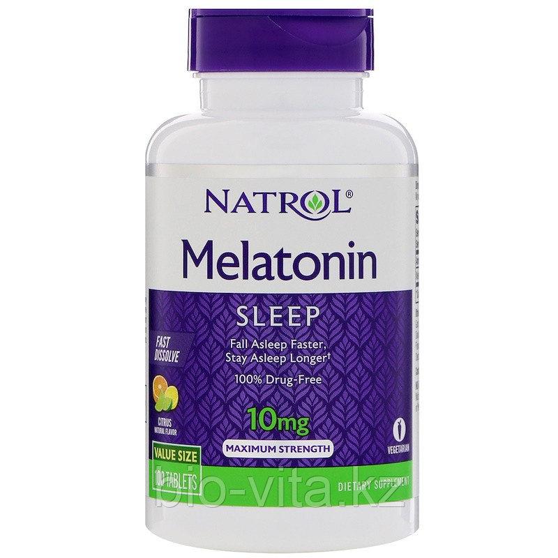 Мелатонин для спокойного сна, максимальное действие, быстрорастворимый 10 мг, 100 таблеток.  Natrol