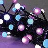 Гирлянда 7,9м бело-сине-розовая Жемчуга кабель черный 10м 80диодов LED outdoor 472-90