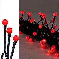 Гирлянда 7,9м красная Жемчуга кабель черный 10м 80диодов LED outdoor 472-45
