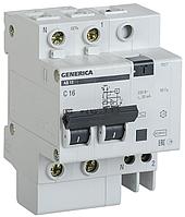 Выключатель автоматический дифференциального тока  Generica АД12 10А 30мА С 2п