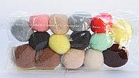 Помпоны декоративные из акриловой пряжи, 1.5 см, коричневые-бежевые