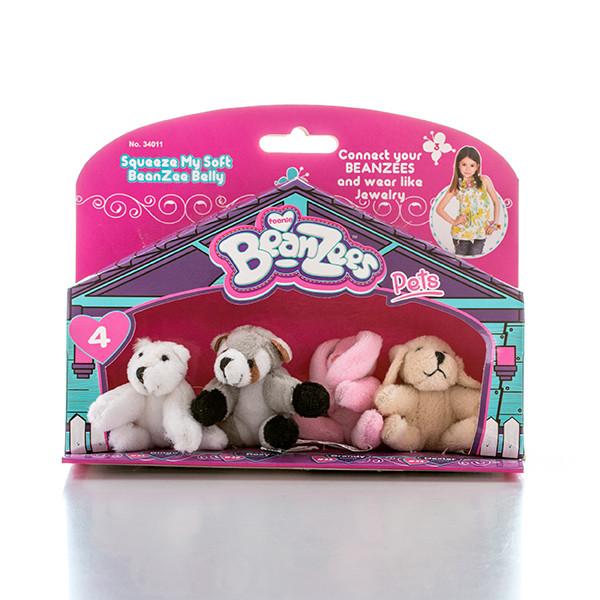 "Beanzees мини плюш в наборе ""Медведь, Енот, Кролик, Песик"""