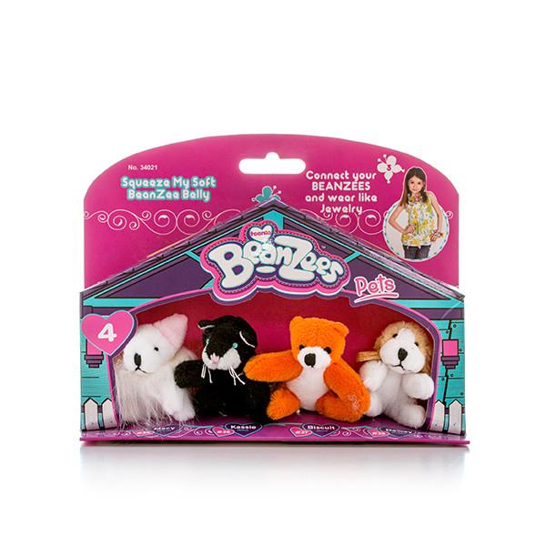 """Beanzees мини плюш в наборе  """"Мышка, Котик, Медведь, Песик"""""""