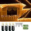 Гирлянда дождь 2х1м теплобелая кабель черный дополнительная 100диодов LED outdoor 465-36