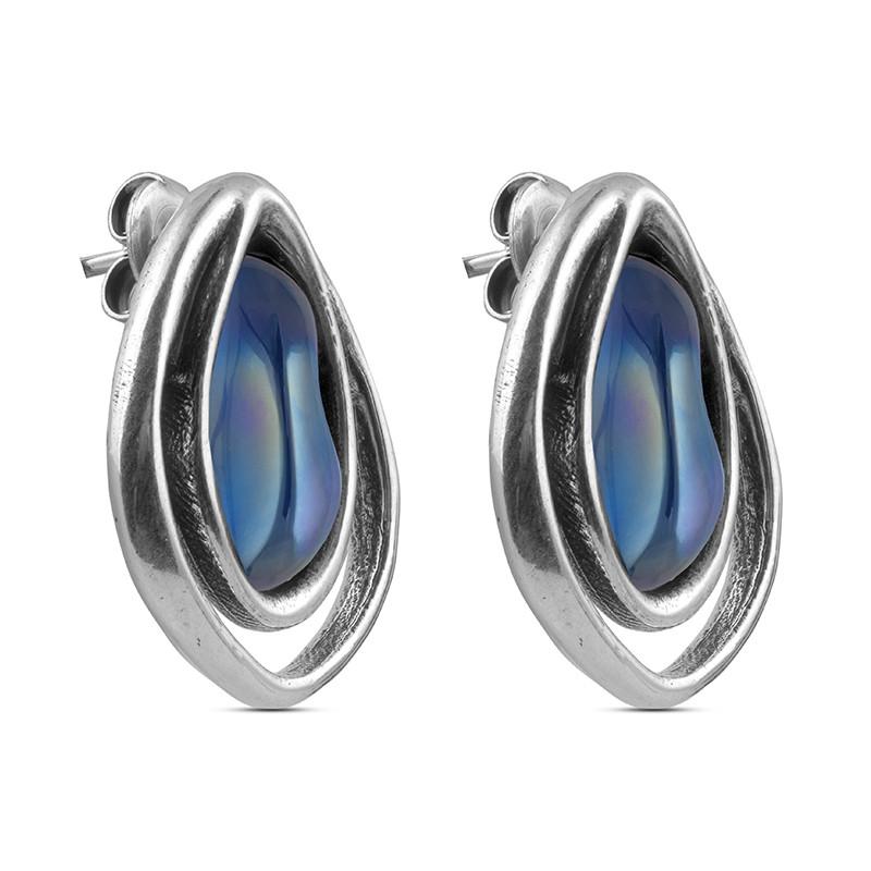 Серьги (мурано синий)