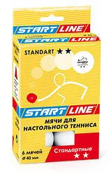 Шарики для настольного тенниса STANDART 2*, 6 мячей в упаковке, белые