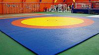 Борцовский ковер трехцветный 12 х12 м с покрышкой, толщина 5 см