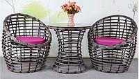 Плетеная мебель  Стол + 2 кресла