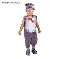 """Карнавальный костюм для мальчика от 1,5-3-х лет """"Мышонок"""", велюр, комбинезон, шапка"""