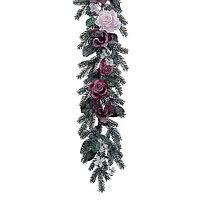 Гирлянда еловая 1,8м заснеженная с цветами KA688374