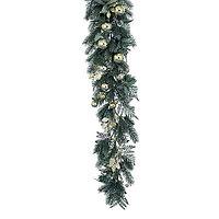 Гирлянда еловая 1,8м зеленая с золотистыми шарами KA688203