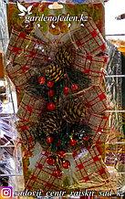 """Рождественские (новогодние) декоративные банты """"в золотисто-красную клетку""""."""