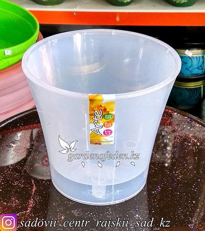 """Пластиковый горшок """"Арте"""". Цвет: Прозрачный. Объем: 1.2л, фото 2"""