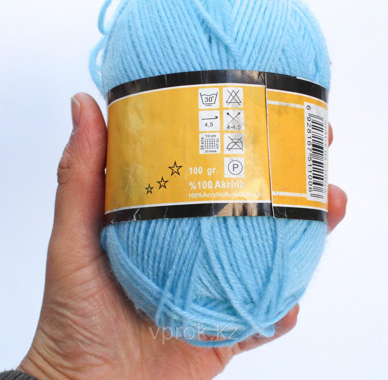 Пряжа акриловая, KING BIRD, 100 гр., голубая - фото 2