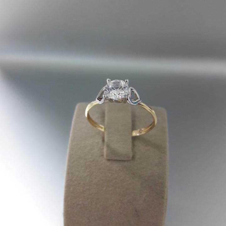 Кольцо с цирконом / жёлтое золото - 18,5 размер