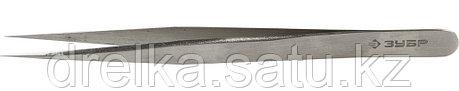 Пинцет ЗУБР д/электроники и точной механики, нерж сталь, антимагнит, прямой, сверхтонк заострен губки, 140 мм, фото 2