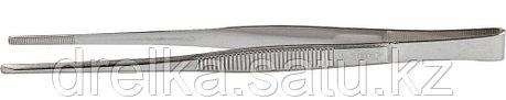Пинцет ЗУБР д/электроники и точной механики, нерж. сталь, антимагнит, прямой, закругленные губки, 180мм, фото 2