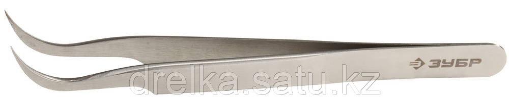 Пинцет ЗУБР д/электроники и точной механики, нерж. сталь, антимагнит, изогнутый, заостренные губки, 110мм