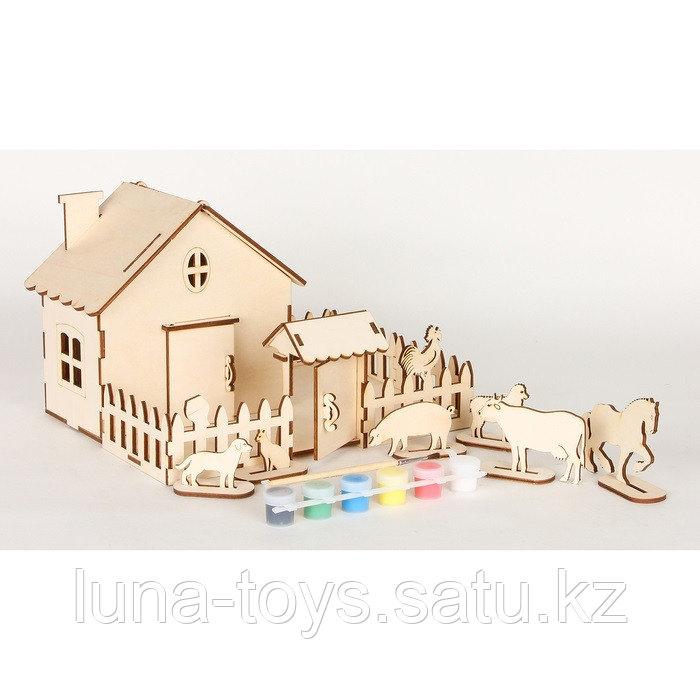 """Сборная модель""""Ферма с животными"""",28 дет. 270*180*200мм 6 акрил красок и кисточ, в термоуса"""
