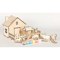 """Сборная модель""""Ферма с животными"""",28 дет. 270*180*200мм 6 акрил красок и кисточ, в термоуса , фото 1"""