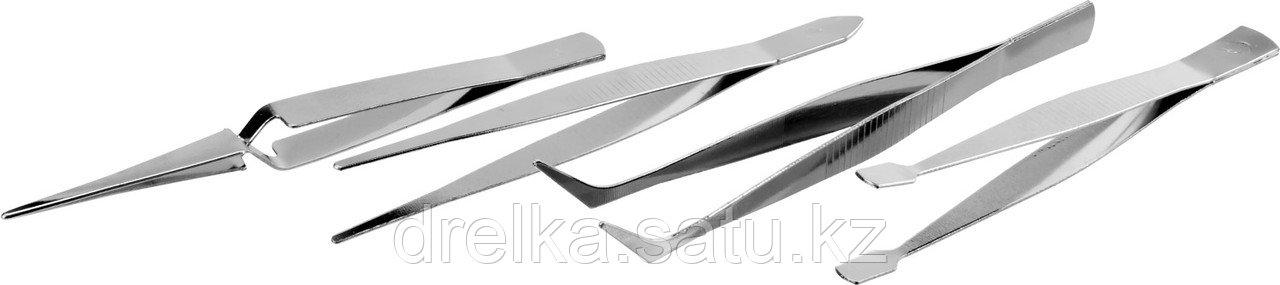 Набор ЗУБР: Пинцеты, нержавеющая сталь, прямой, заостренные губки
