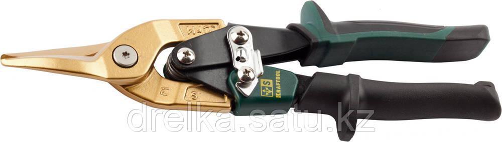 Ножницы по твердому металлу KRAFTOOL, двойная рычаж передача, Cr-Mo, титан покрытие, двухкомп ручка, прямые