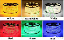 Лента SMD 5050, 220v в пвх оболочке. Цвет: белый (4500К, 3000К) синий, желтый, зеленый, красный