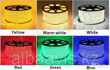Ленты светодиодные 220 в. В ПВХ оболочке  LED лента SMD 5050. 9 цветов