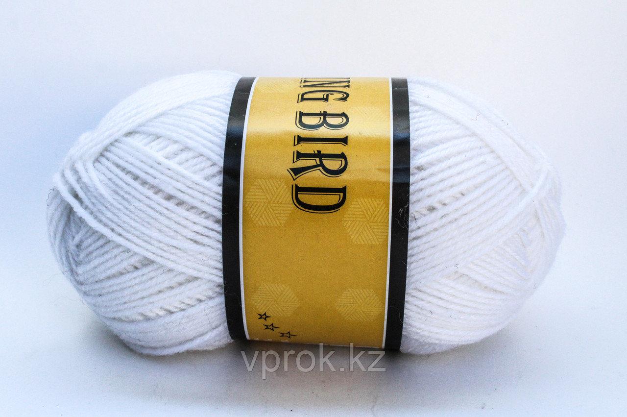 Пряжа акриловая, KING BIRD, 100 гр., белая - фото 1