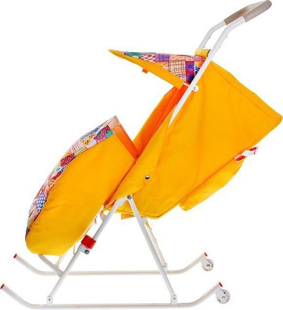 Санки - коляска детские прогулочные Деми - желтый