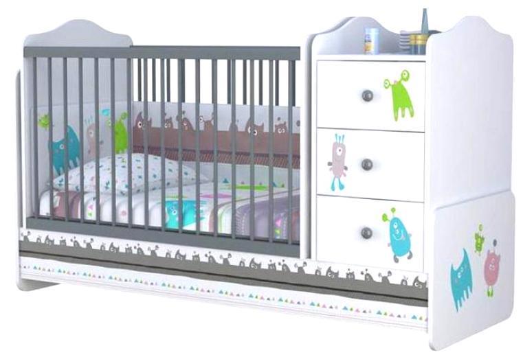 """Кроватка - трансформер детская Polini """"Basic Монстрики"""", (белый-серый),"""