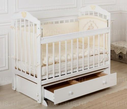 """Кровать детская Incanto """"Pali"""", (белая), с мишкой, маятник (поперечный)"""