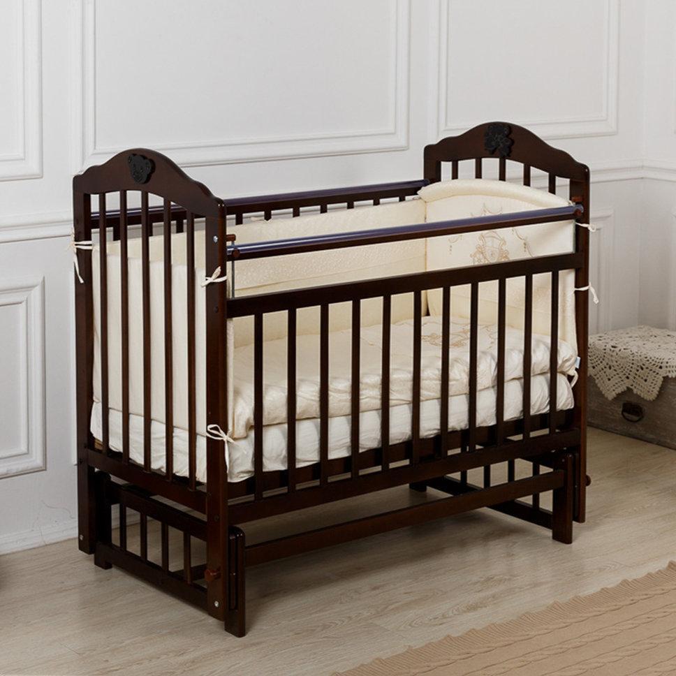 """Кровать детская Incanto """"Pali"""", (венго), с мишкой, маятник (поперечный)"""