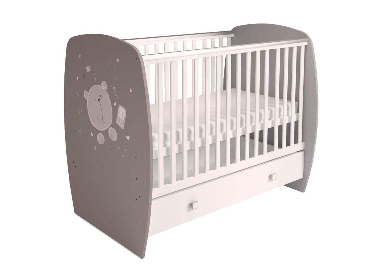 """Кровать детская Polini kids """"French 700"""", Teddy, белый-серый"""