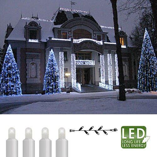 Гирлянда цепочка 3м холоднобелая кабель белый дополнительная 30диодов LED outdoor 466-08-3