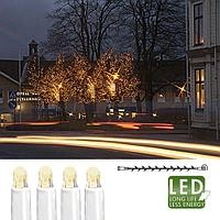 Гирлянда цепочка 5м теплобелая кабель белый дополнительная 50диодов LED outdoor 466-06