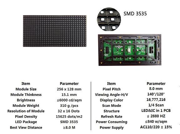 LED светодиодный модуль (Наружный) SMD, P8, 256*128мм, фото 2