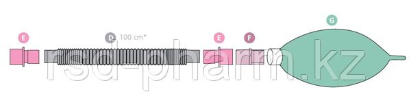 Контур дыхательный анестезиологический удлиняющийся (Растяжимый) Plasti-med, с резервным мешком, фото 2