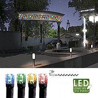 Гирлянда цепочка 7,0м разноцветная кабель черный 10м 120диодов 8функций LED outdoor 498-41