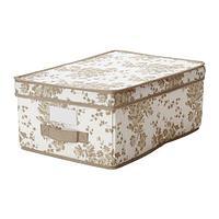 ГАРНИТУР Коробка с крышкой, бежевый, белый цветок, фото 1