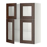 МЕТОД Навесной шкаф с полками/4 стекл дв, белый, Эдсерум коричневый