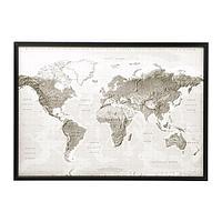 БЬЁРКСТА Картина с рамой, Планета Земля серый/белый, черный, фото 1