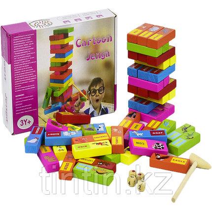 Настольная игра - Дженга с картинками и названиями животных, 54 брусков, фото 2