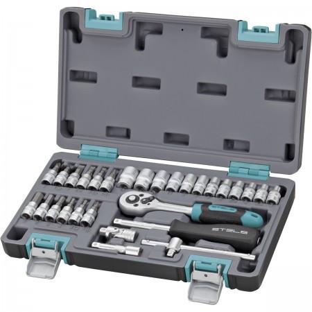 Набор инструментов в пластиковом кейсе 1/4 CrV Stels 29 предметов